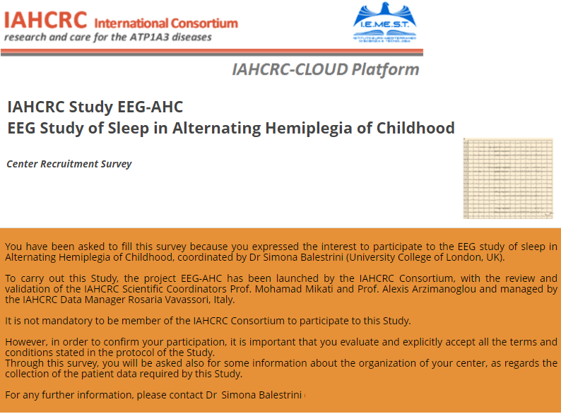 Recruitment Survey for Centers interested to participate in the EEG-AHC Study