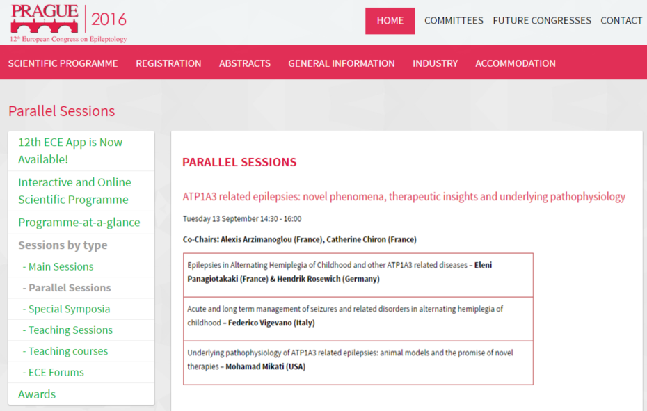 The Parallel Session about the ATP1A3 diseases at the 12th European Congress on Epileptology