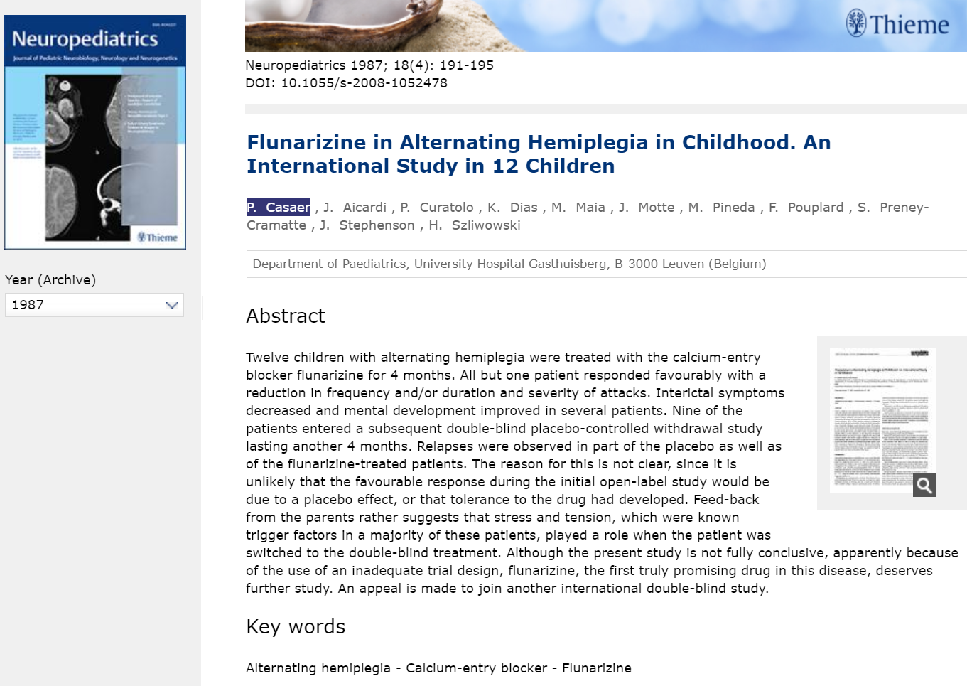 Article about the Study with Flunarizine in Alternating Hemiplegia of Childhood (Neuropediatrics, 1987)
