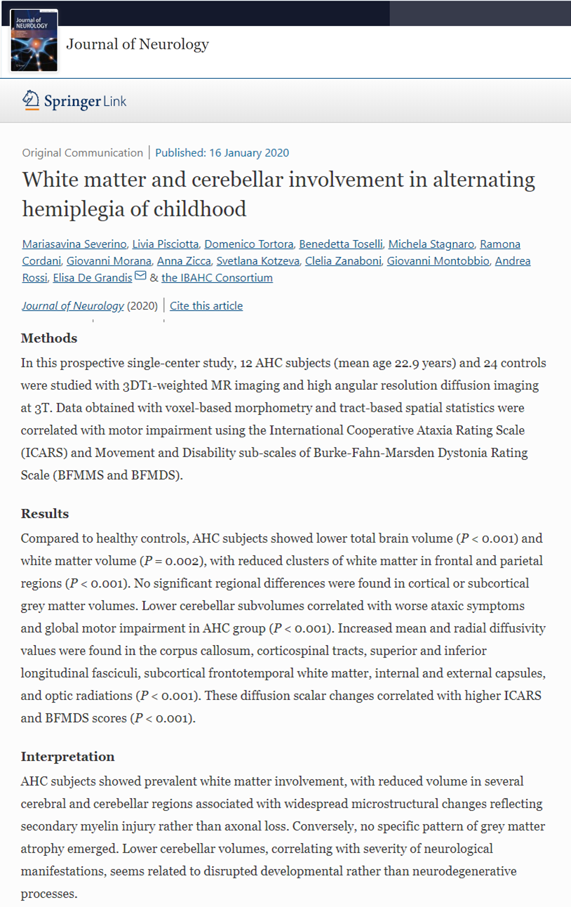 White matter and cerebellar involvement in alternating hemiplegia of childhood